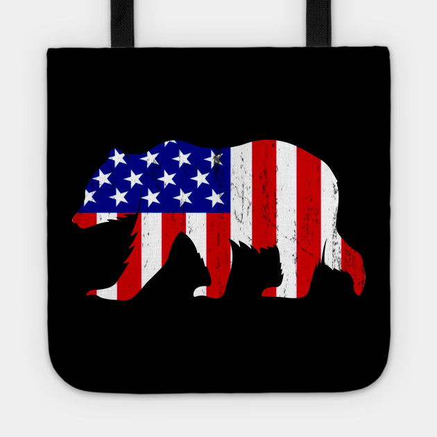 Bear USA American Flag Vintage Style 4th of July Gifts