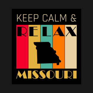 MISSOURI - US STATE MAP - KEEP CALM & RELAX t-shirts