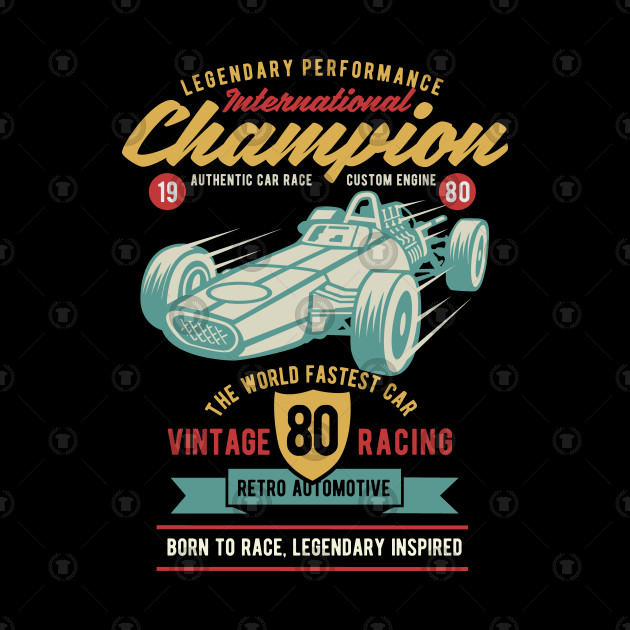 86a5e13a9 VINTAGE CARS T-SHIRT International Champion Car Race - Vintage Cars ...
