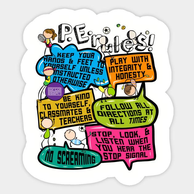 Funny Colorful Doodle Physical Education P E Rules Pe