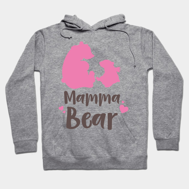 Mamma Bear, Bear Cub, Mother's Day - Pink Brown Hoodie