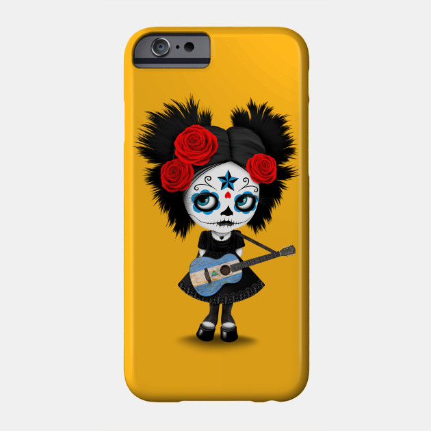 Sugar Skull Girl Playing Nicaraguan Flag Guitar