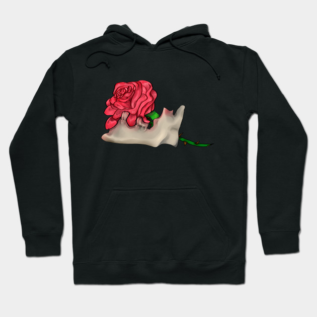rose in the skull Hoodie