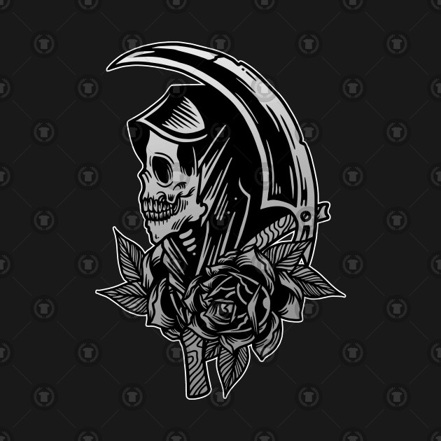 Grim Reaper Scythe Death Skull With Roses Vintage Tattoo Flash