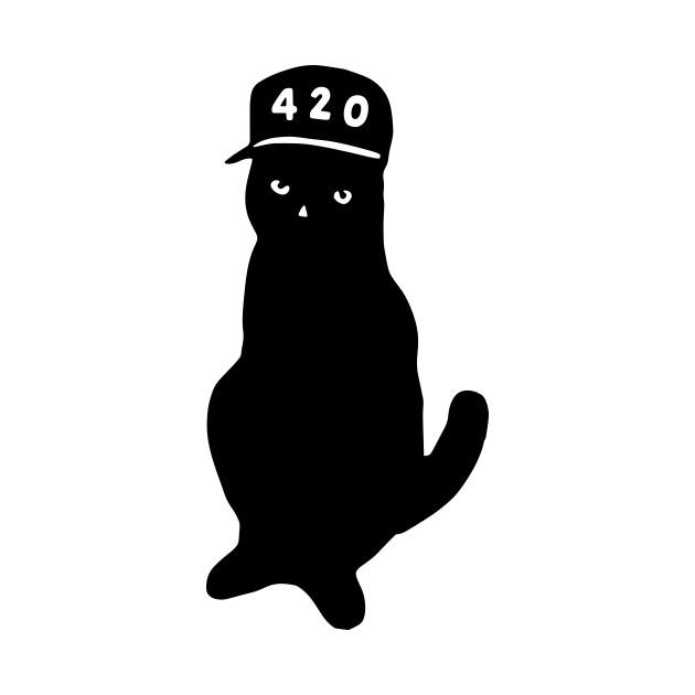 420 Four Twenty Pussy Cat TShirt Awesome Weed Stoner Summer