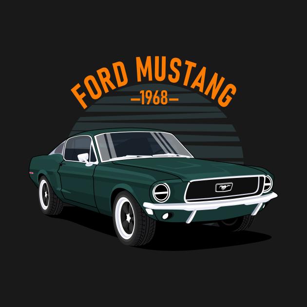 Classic Car  Mustang 1968 Dark Green