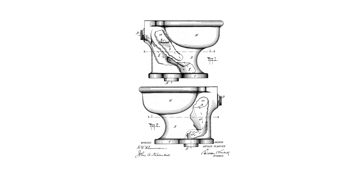 Toilet Bowl Vintage Patent Hand Drawing