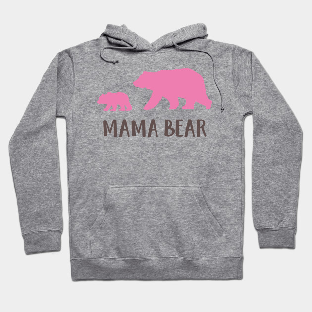 Mother's Day, Mamma Bear, Bear Cub - Pink Brown Hoodie