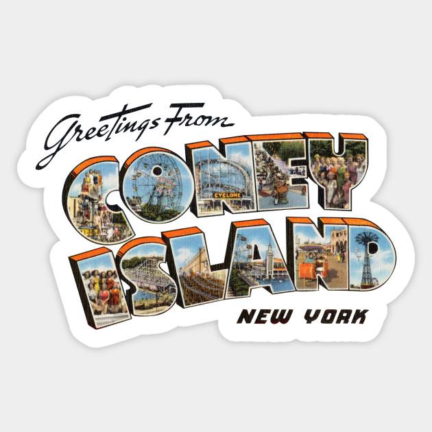 Greetings from coney island coney island ny sticker teepublic 2578767 0 m4hsunfo