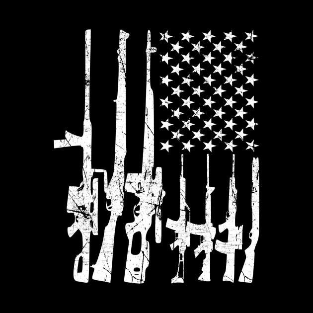 Rifle Distressed American USA Gun Flag