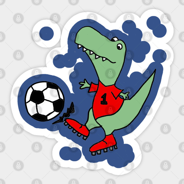 Funny Green T-rex Dinosaur Playing Soccer