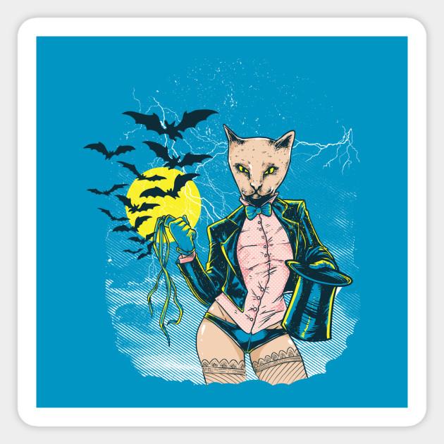 Strange and Sexy Cat Magician Design Sticker
