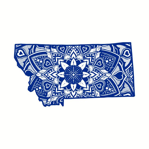 Blue Montana State Gift Mandala Yoga MN Art