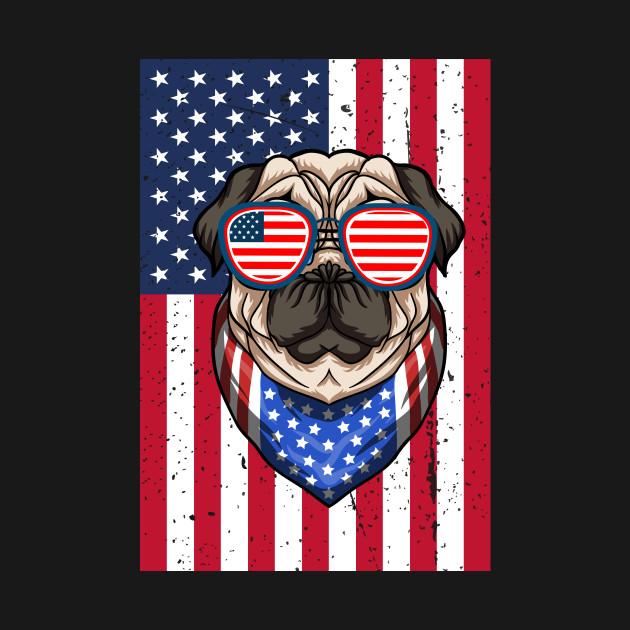 Patriotic Pug Dog American Flag T-Shirt 4th of july Gift