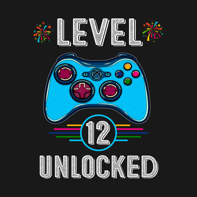 Gamer Level 12 Unlocked Teen Shirt 12th Birthday Video Game