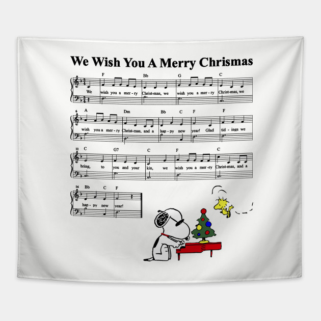 Snoopys Christmas Lyrics.Peanuts Snoopy We Wish You A Merry Christmas Kid Music Sheet Lyric