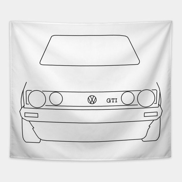 928b9055c VW Golf GTI Mk 1 outline graphic (black) - Golf - Tapestry   TeePublic