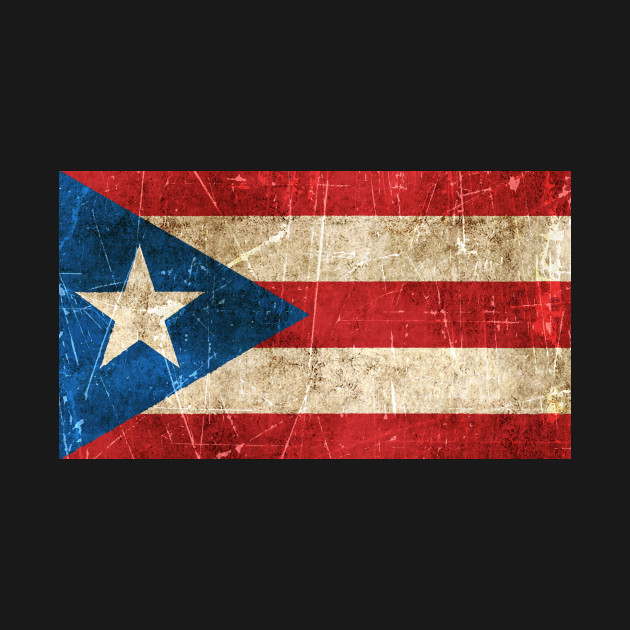 Vintage Aged and Scratched Puerto Rican Flag