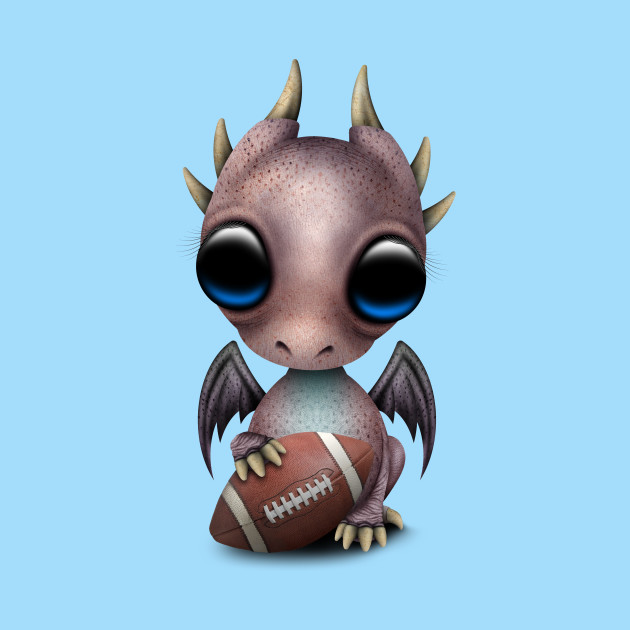 Baby Dragon Playing With Football