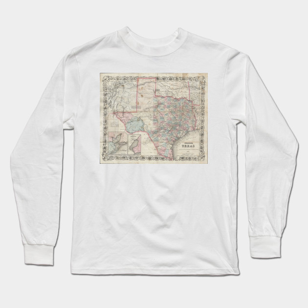 1870 Map Of Texas.Vintage Map Of Texas 1870 Texas Map Long Sleeve T Shirt