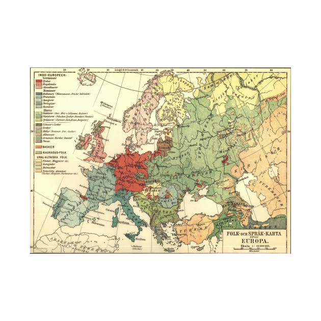Vintage Linguistic Map of Europe (1907) - Europe Map - Kids T-Shirt ...