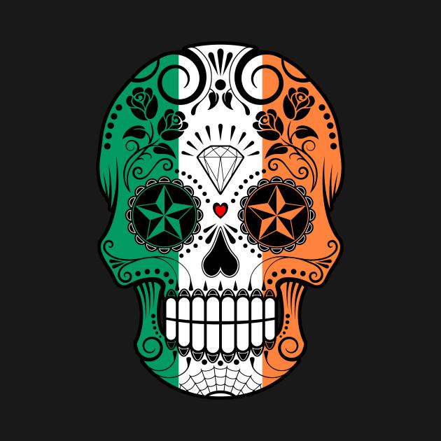Irish Flag Sugar Skull with Roses