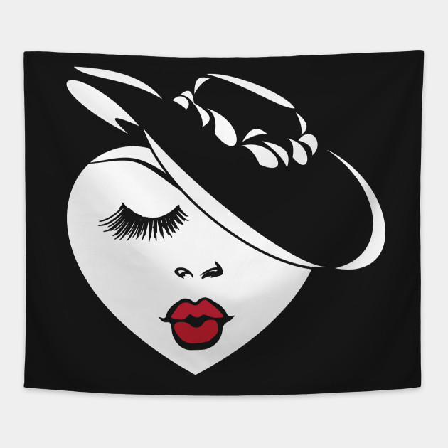 Valentines Day Gift Lady Heart w  Red Lips   in a Retro Hat Tapestry 55856a6ee42b