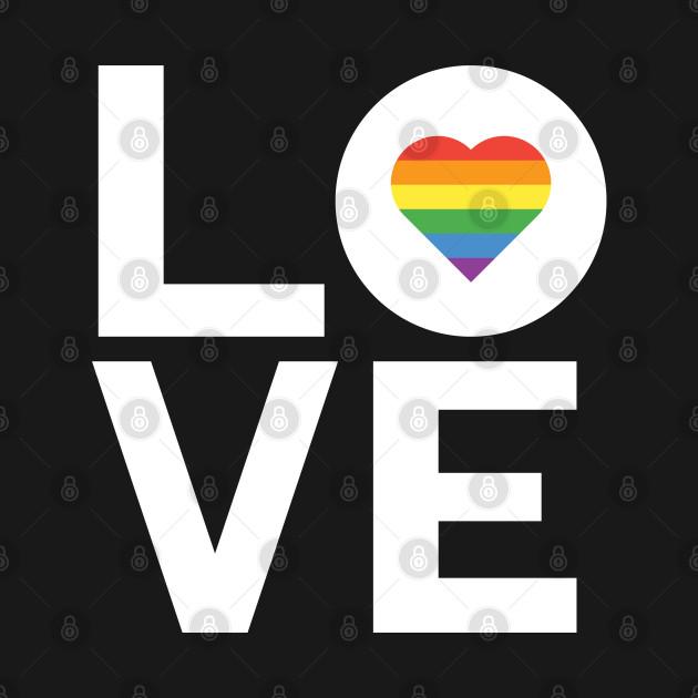 Love T-Shirt Gay Lesbian Inspired Rainbow Heart LGBT Pride