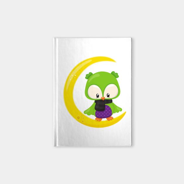 Green Owl, Owl On The Moon, Young Moon, Halloween
