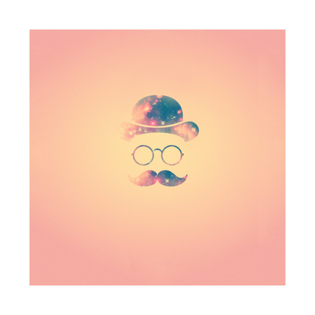 Retro Face with Moustache & Glasses / Universe - Galaxy Hipster (GOLD))