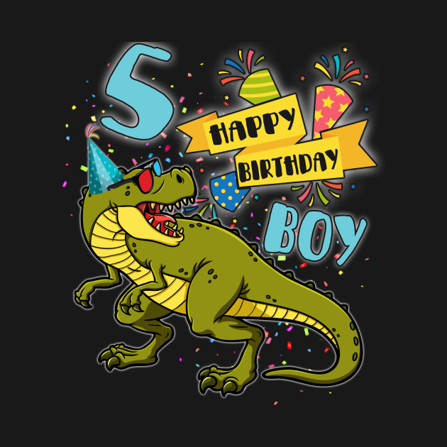 Dinosaur Party For 5 Years Old Boy Tee Its My 5th Birthday