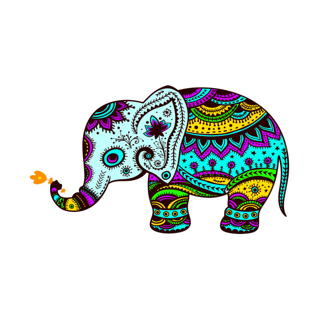 Casual Design For Wallpaper Kid Bedroom Decoration With Colorful Elephant Wall Murals