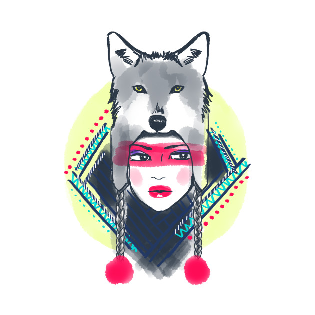 Girl with wolf hat