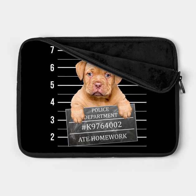 Cute Puppy Dog Mug Shot Graphic. Puppy Ate Homework.
