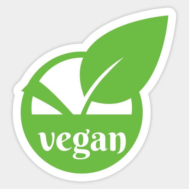 Vegan logo icon stamp seal leaf in circle