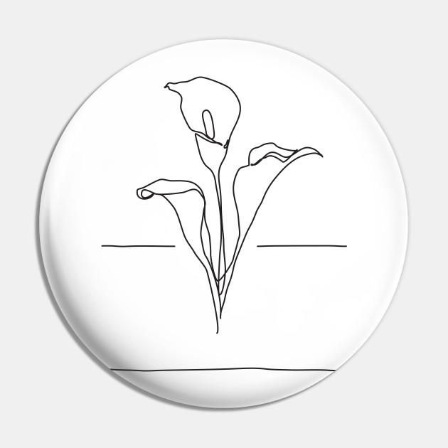 Lily Flowers Line Drawing Black Lily Pin Teepublic