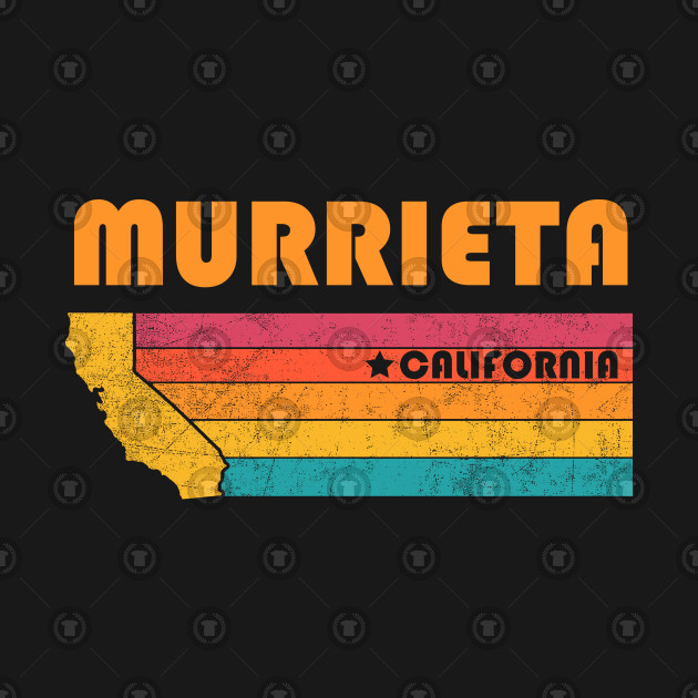Murrieta California T-Shirt Vintage City Retro Souvenir US State Silhouette Lover Gift With Star