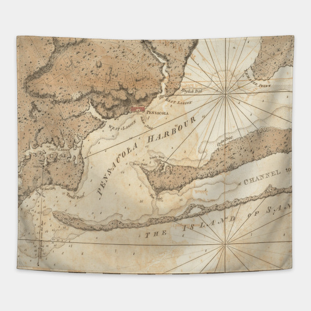 Map Pensacola Florida.Vintage Map Of Pensacola Florida 1780 Pensacola Map Tapestry