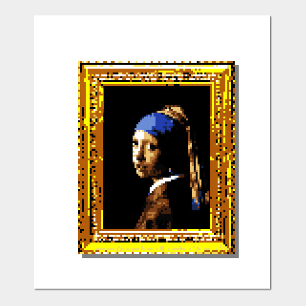 b3b08986f96 8-Bit Girl with a Pearl Earring - 8 Bit - Posters and Art Prints ...