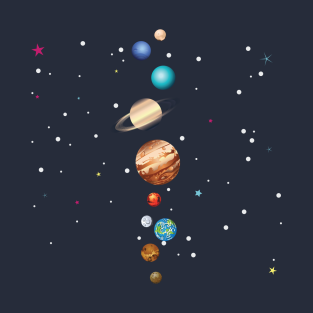 Planets of Solar System in parade t-shirts
