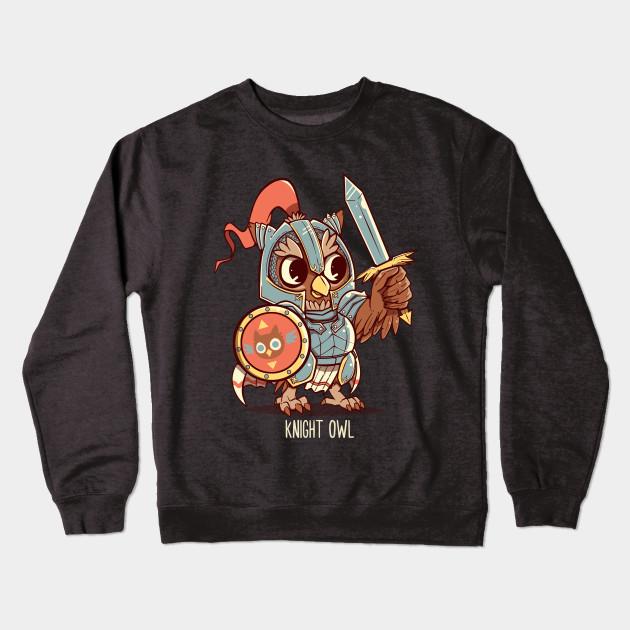 7433f2f1b Knight Owl Animal Pun Shirt - Knight Owl - Crewneck Sweatshirt ...
