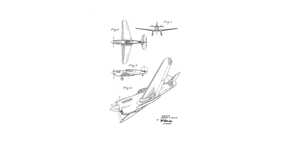 c3bbc70c Airplane Vintage Patent Drawing Funny Novelty T-Shirt - Airplane - T ...