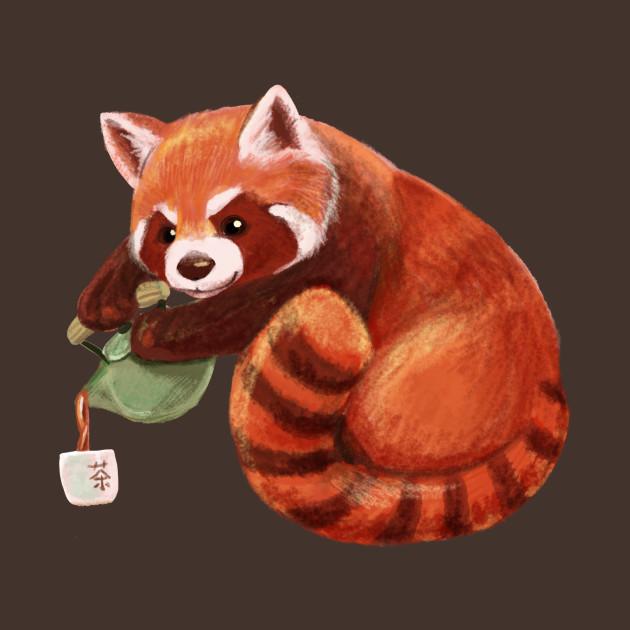Red Panda Pouring Tea