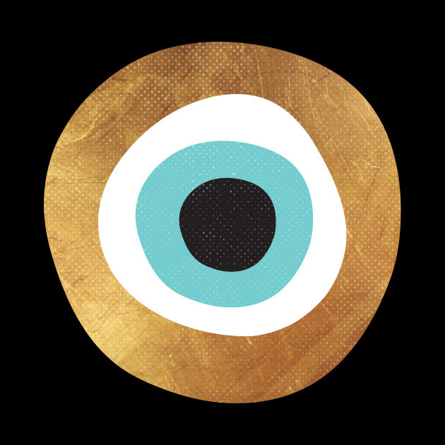 Gold Evil Eye 70s Bohemian Lucky Charm