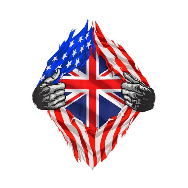Super British Heritage United Kingdom Roots USA Flag