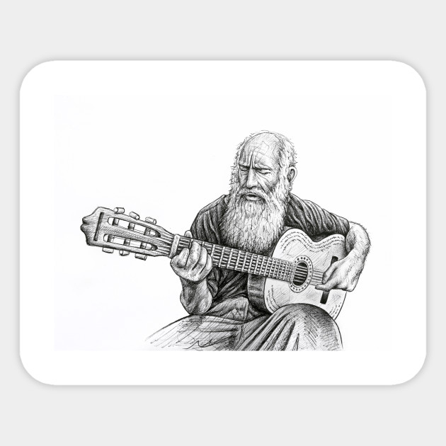 Old Man Guitar Drawing Guitar Sticker Teepublic