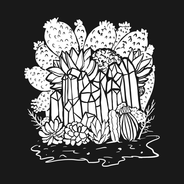 Witchy Cactus, Crystals, Succulents Hand Drawn