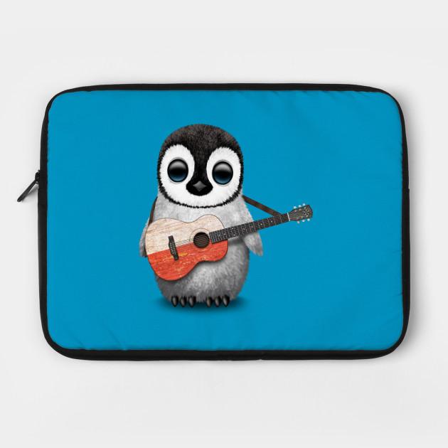 Baby Penguin Playing Polish Flag Guitar