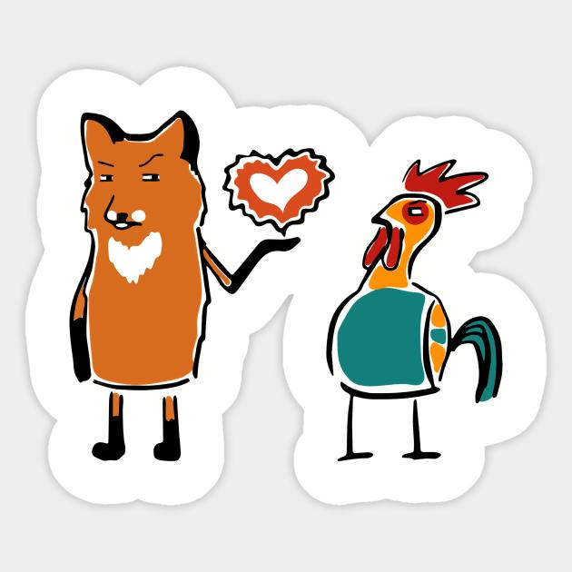 Funny cute Fox & Chicken Love Romantic Heart Gift - Fox Lover Gift Ideas - Sticker   TeePublic