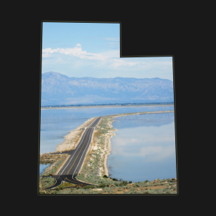 Utah State Outline - Antelope Island Causeway in the Great Salt Lake t-shirts